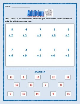 Math: Addition Activity - Cut and Paste answers - 4 pages
