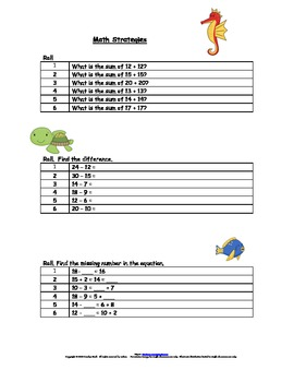 Math Strategies Dice Games:   Making 10, Doubles, Doubles Plus 1, Adding 2