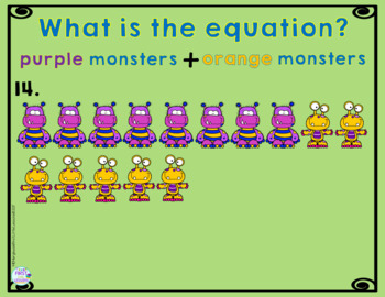 Math Addition Equations To 5, 10, 15, 20: Monster Addition Fun
