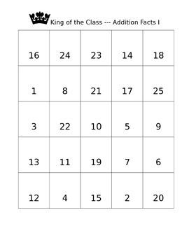Math Addition Fact Game I