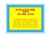 Math Addition Fact Tests for 2-18