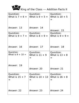 Math Addition Facts Game II