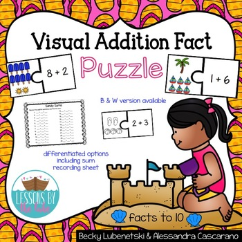 Math Addition Facts Puzzle Center (Within 10)