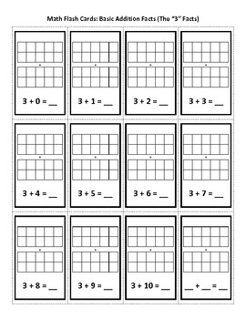 """Math - Addition Flash Cards - """"0"""" Facts Through """"10"""" Facts"""