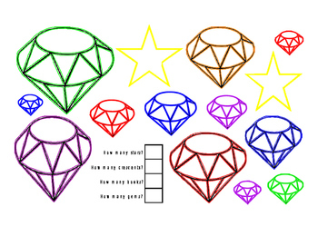 FREEBIE Math Addition How Many Color Fine Motor Stars Crescents Book Gemstones
