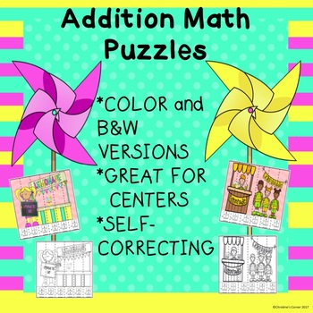 Math Addition Puzzles Kindergarten First Grade Second Grade Activites Games