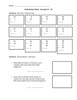 Math Addition Review and Word Problems