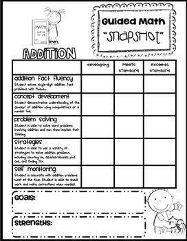 "Math Addition ""Snapshot"" Assessment"
