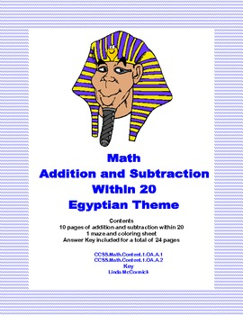 Math Addition & Subtraction Within 20 Worksheets-Ancient E