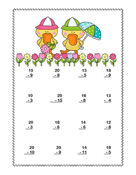 Math Addition & Subtraction Within 20 Worksheets-April Showers Theme