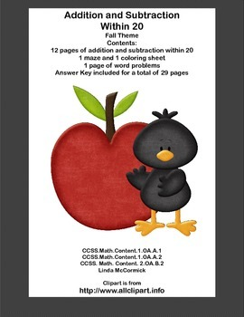 Math Addition & Subtraction Within 20 Worksheets-Fun Fall Theme