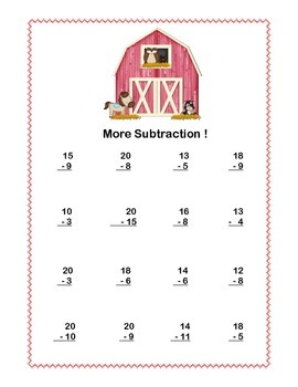 Math Addition & Subtraction Within 20 Worksheets-Fun Farm Theme