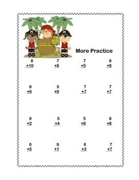 Math Addition & Subtraction Within 20 Worksheets-Fun Pirate Theme