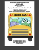 Math Addition & Subtraction Within 20 Worksheets-Funny Monster Theme