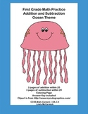 Math Addition & Subtraction Within 20 Worksheets-Ocean Theme