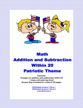 Math Addition & Subtraction Within 20 Worksheets-Patriotic Theme