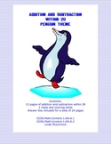 Math Addition & Subtraction Within 20 Worksheets-Penguin Theme