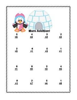 Math Addition & Subtraction Within 20 Worksheets- Penguins and Polar Bears