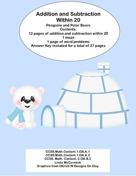 Math Addition & Subtraction Within 20 Worksheets- Penguins