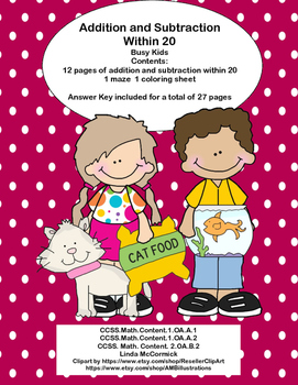 Math Addition & Subtraction Within 20 Worksheets -Busy Kids Theme