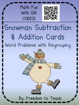 Math Addition & Subtraction Word Problems W/ QR CODES!! Winter Theme