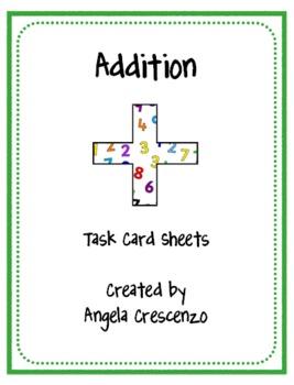 Math Addition Task Card Sheets