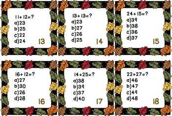 Math Addition Task Cards