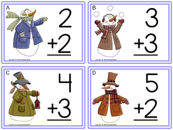 Math Addition Task Cards Snowman Theme