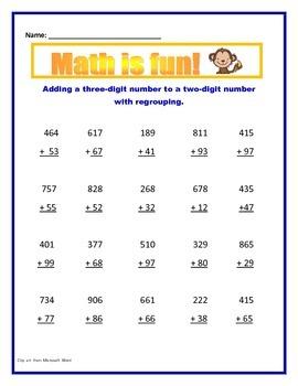Math Addition With Regrouping / Common Core