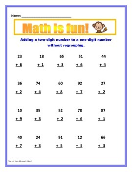 Math Addition With and Without Regrouping / Common Core