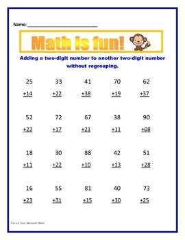 Math Addition Without Regrouping / Comon Core