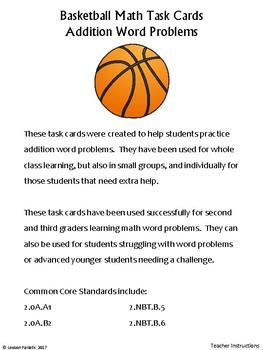 Math Addition Word Problem Task Cards: Basketball Edition
