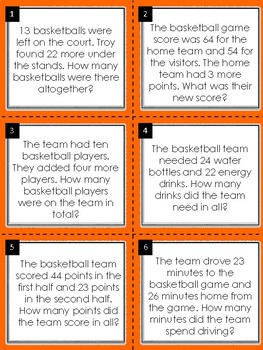Addition Word Problem Math Task Cards: Basketball Edition