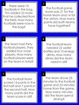 Addition Word Problem Math Task Cards: Football Edition