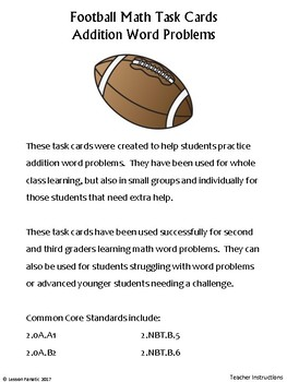 Addition Word Problem Math Task Cards: Football Edition