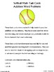 Addition Word Problem Math Task Cards: Softball Edition
