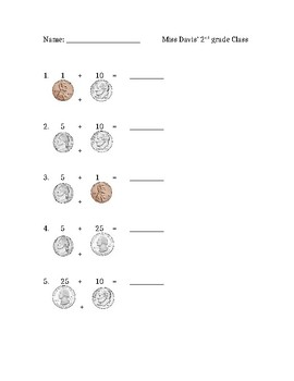 Math Addition Worksheet Using Coins