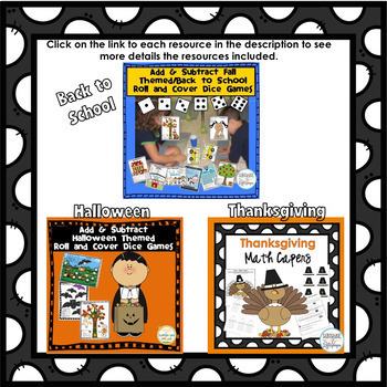 Math Addition and Subtraction Dice Games for the Year First Grade BUNDLE