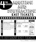 Math Addition and Subtraction Exit Tickets l 4th Grade