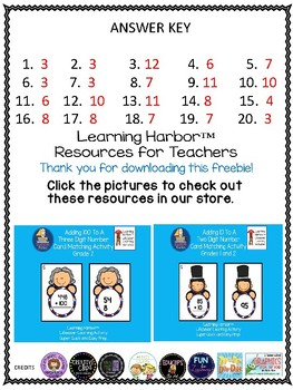 Math Addition and Subtraction Presidents Day FREEBIE