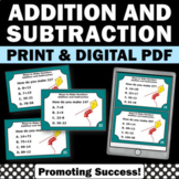 2 Digit Addition and Subtraction Task Cards, 2nd Grade Math Review Games SCOOT