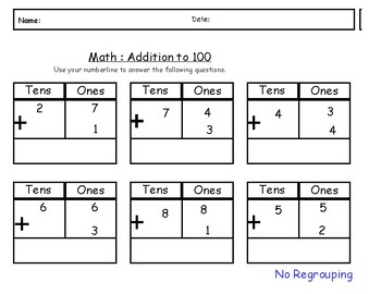 Math Addition to 100- regrouping/ no regrouping