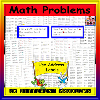Math- Addition/Journal Prompts -30 problems (sticky labels 30 count)