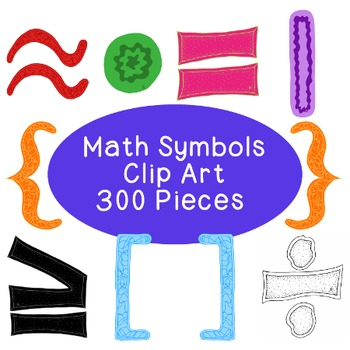 Math Algebra Clip Art Bundle Symbols PNG JPG Blackline Commercial or Personal