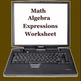 Math Algebra Expressions Worksheet - Elementary