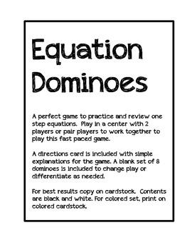 Math: Algebra One Step Equations Dominoes