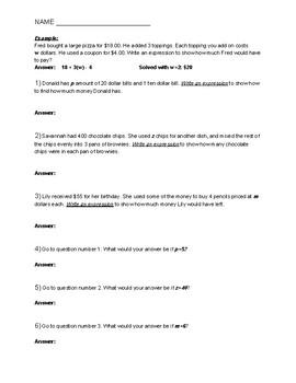 Math Algebraic Expressions Problem Solving/ Story Problems