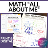 Math All About Me Back to School Activity Print and Digital Version