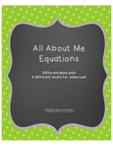 Math All About Me Equations