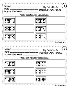 First Grade Math - Morning Work Minute Worksheets - April